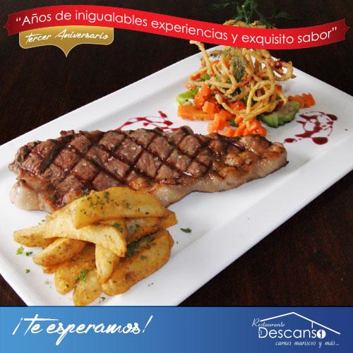 Un delicioso corte al mejor estilo americano... Déjanos sorprenderte con nuestro New York Steak #ElDescanso.